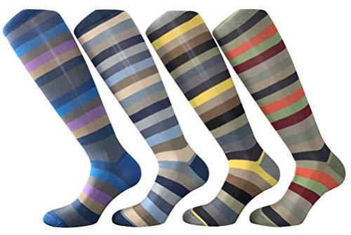 CriCri Socks 4 Paia Calze Uomo Lunghe in Fresco Cotone Leggero e Mercerizzato Alta Qualità Made in Italy - Taglia Unica (Combinazione 1)
