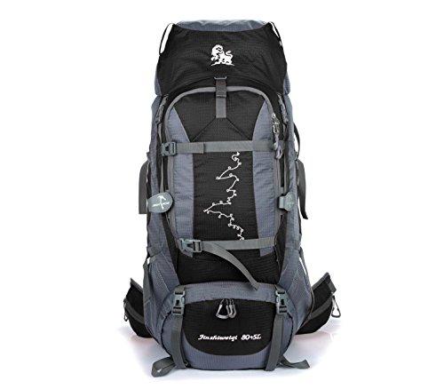85L léger randonnée voyage sac à dos en nylon imperméable à l'eau grande capacité portable alpinisme Camping Explorer sac à dos multifonction Sports Bag Pack H75 x L36 x T20 cm , black