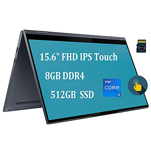 "Lenovo Yoga 7i 2021 2-in-1 15 Laptop I 15.6"" FHD IPS Touchscreen I 11th Gen Intel 4-Core i5-1135G7 (> i7-10710U) I 8GB DDR4 512GB SSD I Backlit FP Thunderbolt Win10 Grey + 32GB MicroSD Card"