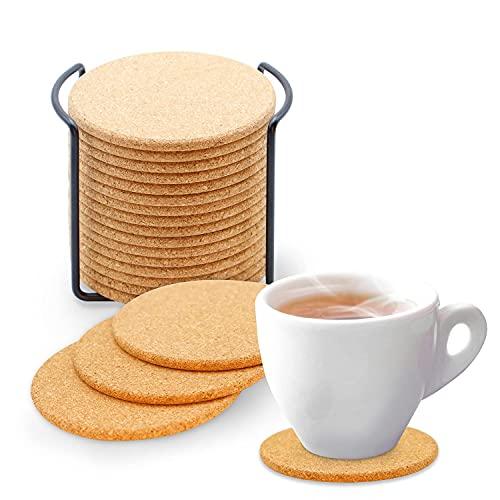 Trendcool Posavasos Corcho Natural. 16 Posavasos Redondo Resistente al Calor. para Hogar, Bar, Restaurante. Posa Vasos para Bebidas Calientes y Frías. Cork Coaster.