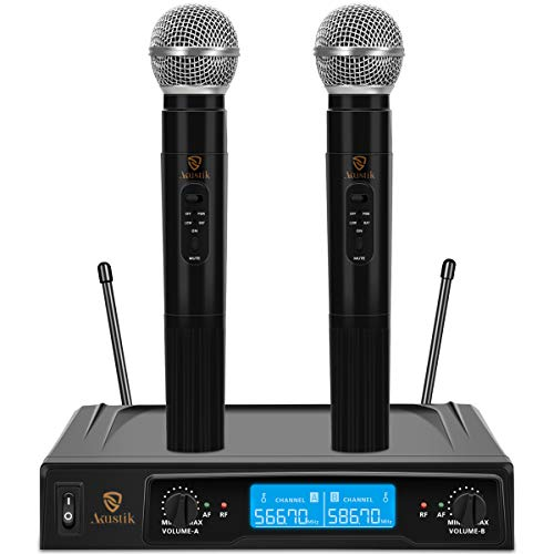 AKUSTIK Dual Channel Wireless Microphone System, UHF Fixed Frequency Cordless Handheld Mics Set with LCD Display, 200Ft Range, Professional Karaoke Machine for Karaoke, Wedding, Church, Conference