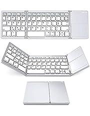 Trådlöst Bluetooth-tangentbord mini viktangentbord med pekplatta kompatibelt för Windows/Android/iOS silver