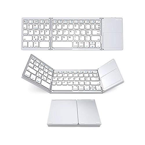 Btuty Teclado sem fio BT Mini teclado dobrável portátil Ultra Slim BT teclado com touchpad Compatible with Windows/Android/iOS Silver