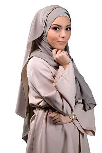 Lamis Hijab - Hijab mousseline de soie opaque format maxi 200X70 pour femme musulmane voilée (Taupe)
