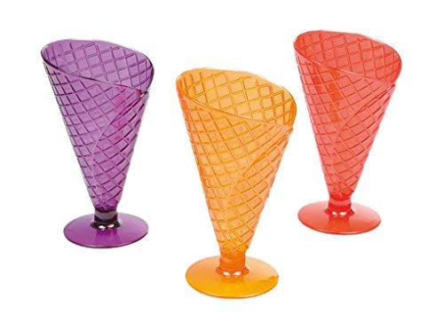 VIP Home 6VAI811C Copas Conjunto de 3 Cono Forma de acrílico/de Cristal Multicolor de 16,5 cm