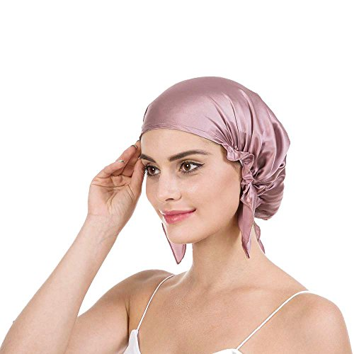 Savena 100% Mulberry Silk Night Sleeping Cap X-Large Size for Thick and Long Hair Bonnet Hat Smooth Soft Many Colors, Hair Care Ebook Included (Cameo)