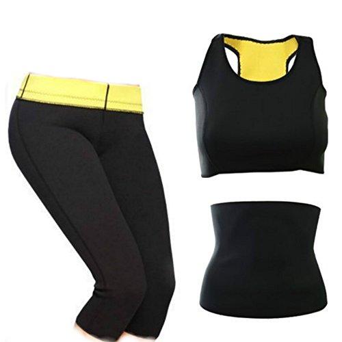 CUTEHILL- Conjunto Shaper de sudoración intensiva Pantalones + Cinturón Abdominal + Top Deportivo de mujer de Neopreno para adelgazar (XXL)