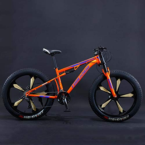 AISHFP 26Inch Fat Tire Mountain Bike, Double Disc Brake Offroad Bicycle, All Terrain Damping Beach Snow Bikes, 4.0 Wide Magnesium Alloy Wheels,A,27 Speed