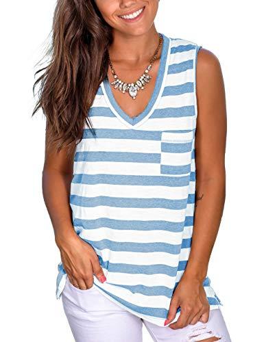 Summer Tops for Women Striped Sleeveless Shirts Blouses Basic Cute Tanks Tees Blue M