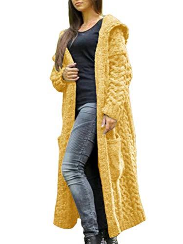Onsoyours Chaqueta Sin Mangas para Mujeres Espesar Largo Color Puro Abrigo Abajo Chalecos Amarillo XS