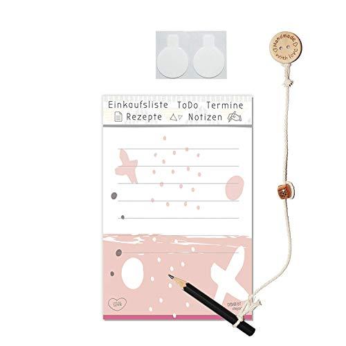 Einkaufsliste zum Aufhängen | Praktisches Notizblock Set »JUNA« bestehend aus Notizblock mit Stift + Kordel | mit Klettpunkte selbstklebend | für Kühlschrank | von dejadoo®