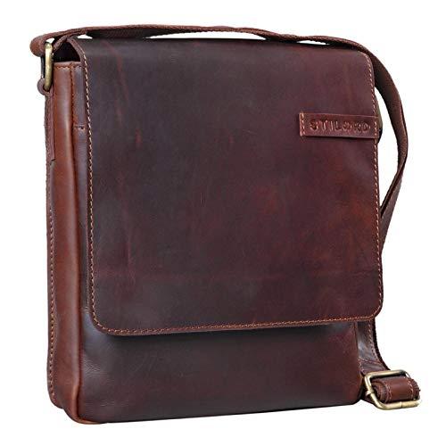 STILORD 'Dario' mannen schoudertas leder vintage boodschappentas voor iPad 9,7-10,1 inch lade tas kleine schoudertas echt leer, Kleur:cognac - donkerbruin