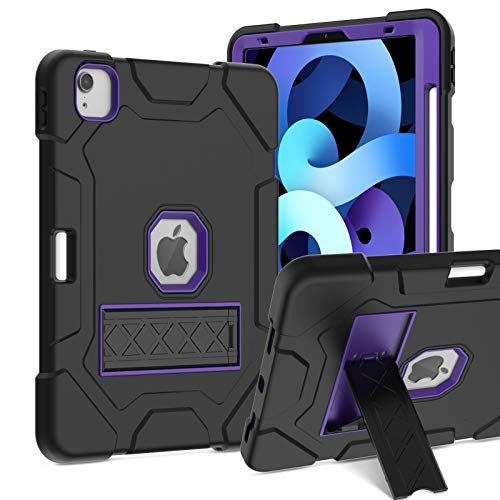 Innens for iPad Air 4 10.9 2020 Case, iPad Pro 11 2020/2018 Case, Slim Heavy Duty Three Layer Armor Defender Protective Case with Kickstand & Pencil Holder [Supports Pencil 2] (Purple)