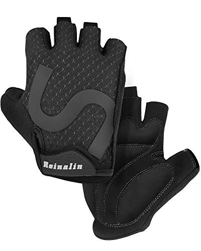 Reinalin Fingerless Cycling Gloves for Men, Summer Bicycle Gloves with Anti-Slip Gel Pad, Breathable Half Finger Bike gloves, Mountain Bike Gloves for Men and Women (L)