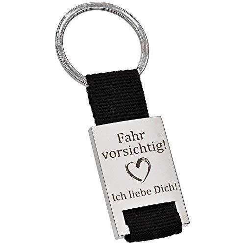 PAKADI Schlüsselanhänger mit Gravur Fahr vorsichtig! - Ich Liebe Dich! Farbe schwarz
