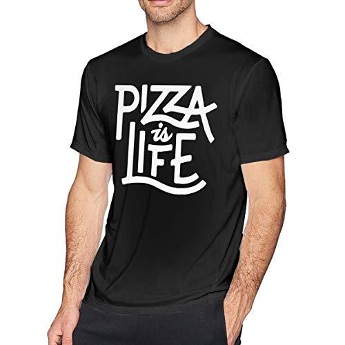 Pizza Is Life Camiseta de Manga Corta para Hombre Athletic Casual Camisetas para Hombres Camiseta de Moda
