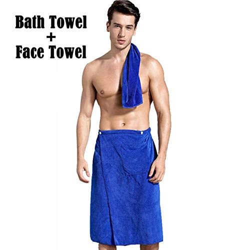 LASISZ Man Wearable Magic Bath Towe + Face Towel Set Mircofiber Fabric with Pocket Soft Swimming Beach Bath Towel Blanket Male Shower,FaceX1pc BathX1pc,70x140cm