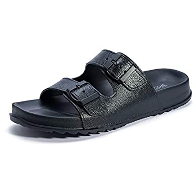 WHITIN Men's Adjustable Buckle Double Strap Slide Sandals
