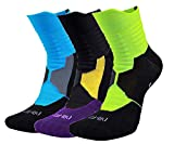 Elite Compression Cushion Athletic Socks for Basketball Running Hiking Sports, Multi-color 3 Packs, Large