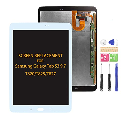 SRJTEK Compatible para Samsung Galaxy Tab S3 Pantalla LCD piezas de repuesto para T825 T820 Sensor de pantalla táctil T827 Asamblea digitalizador con kits (blanco sin marco)
