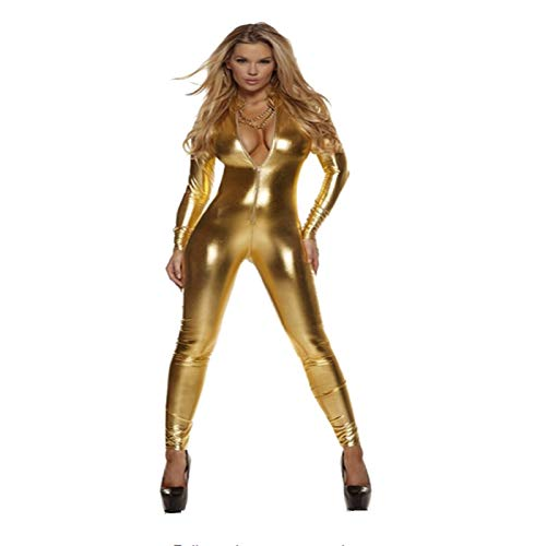 Manbozix Damen Cosplay Kostüm Anzug Overallkostüm Ganzanzug Bodysuit Clubwear für Halloween Cosplay Party Golden XL