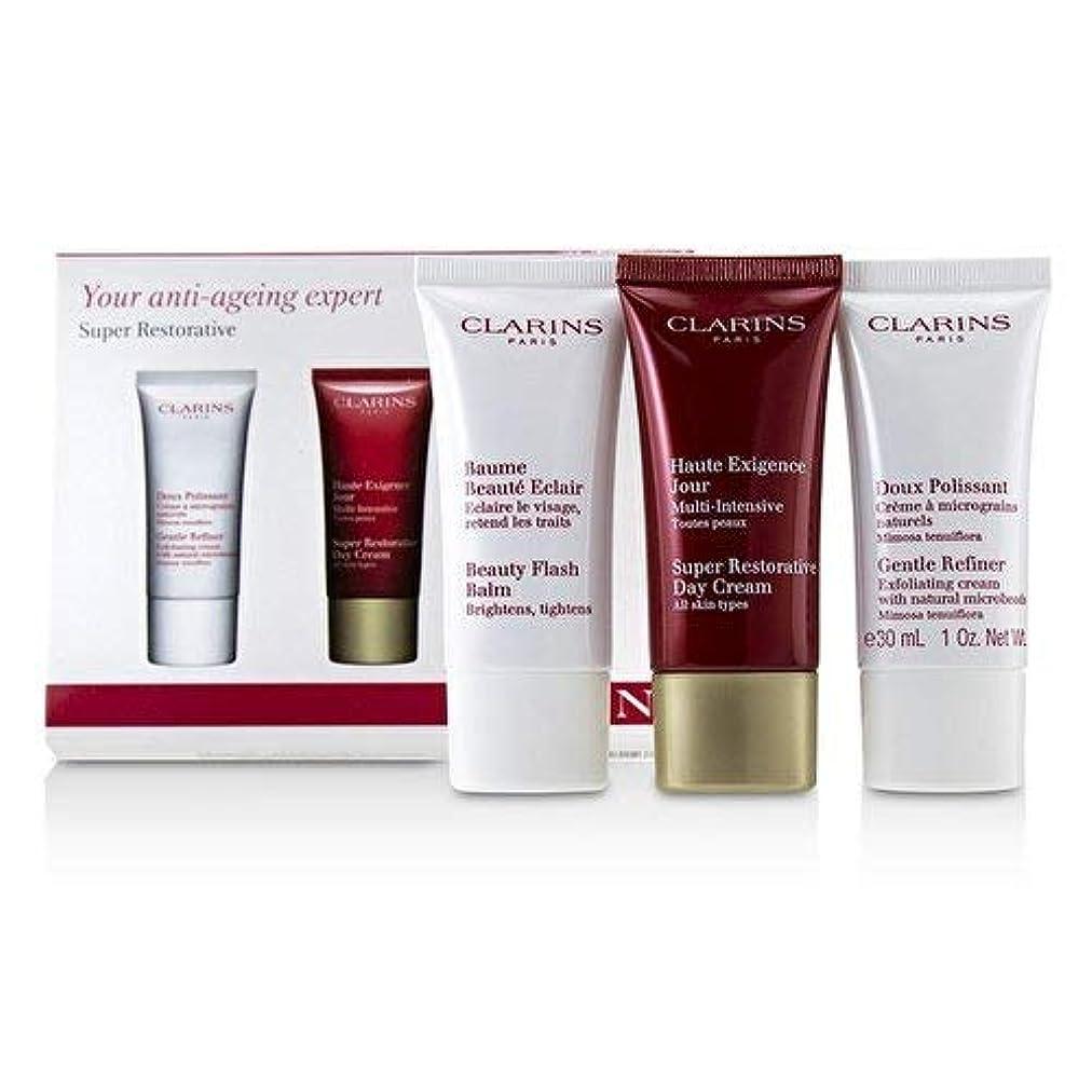 変換する芸術的スノーケルクラランス Super Restorative 50+ Anti-Ageing Skincare Set: Gentle Refiner 30ml+Super Restorative Day Cream 30ml+Beauty Flash Balm 30ml 3pcs並行輸入品