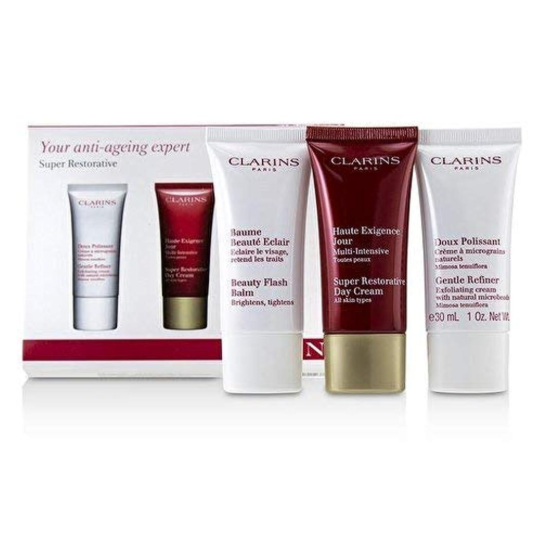 受け皿異常な力強いクラランス Super Restorative 50+ Anti-Ageing Skincare Set: Gentle Refiner 30ml+Super Restorative Day Cream 30ml+Beauty Flash Balm 30ml 3pcs並行輸入品