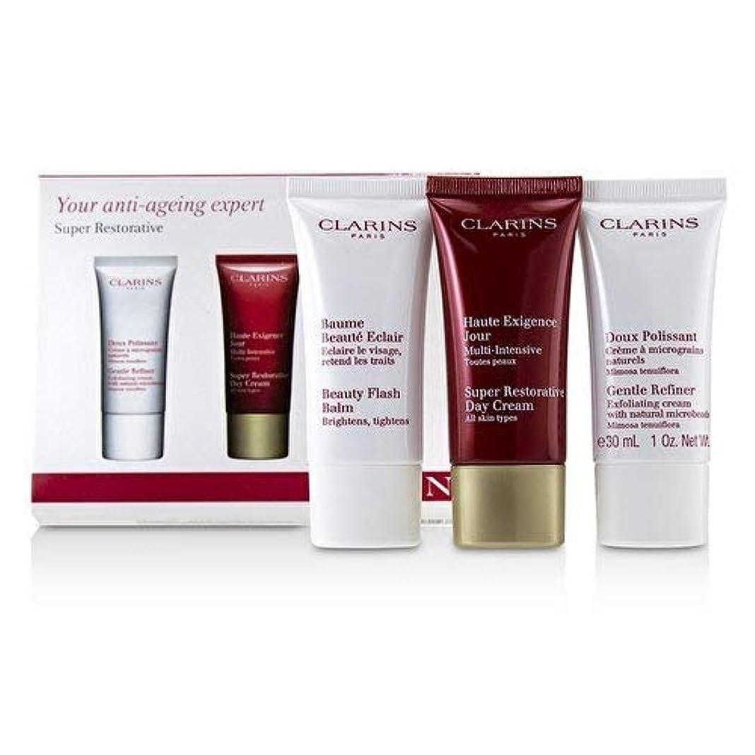 チューリップ左接触クラランス Super Restorative 50+ Anti-Ageing Skincare Set: Gentle Refiner 30ml+Super Restorative Day Cream 30ml+Beauty Flash Balm 30ml 3pcs並行輸入品