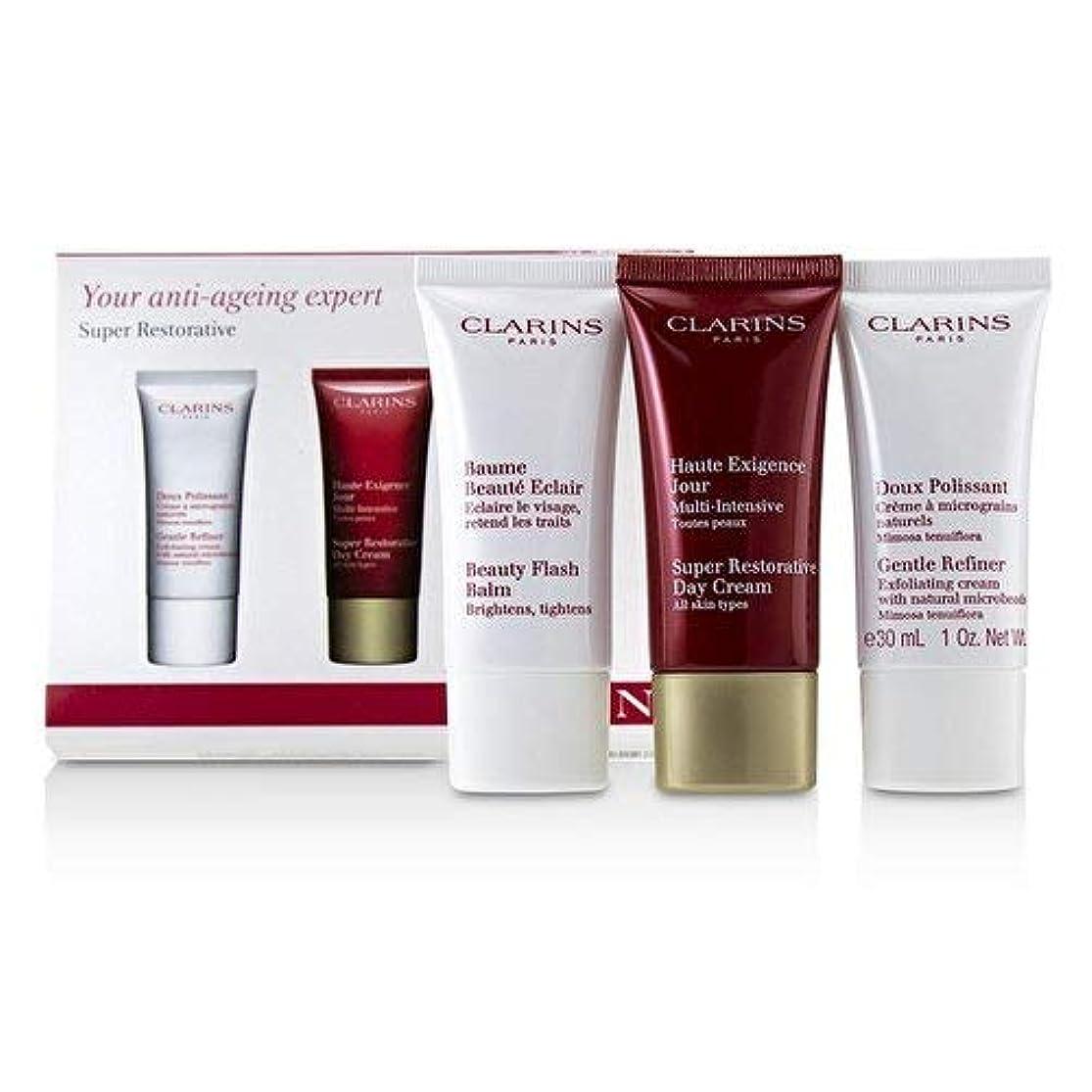 帽子すべきイヤホンクラランス Super Restorative 50+ Anti-Ageing Skincare Set: Gentle Refiner 30ml+Super Restorative Day Cream 30ml+Beauty Flash Balm 30ml 3pcs並行輸入品