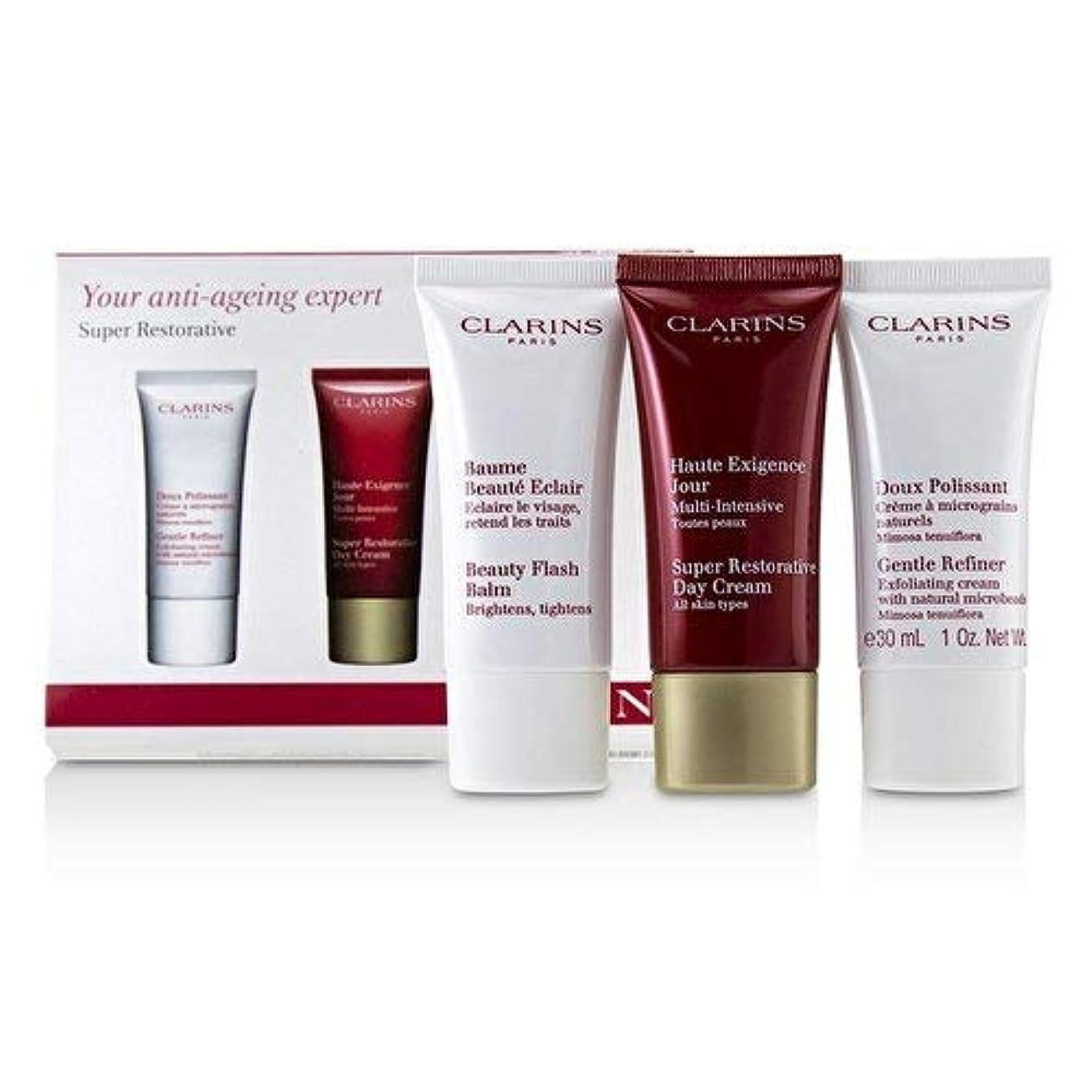 ロックなぜなら憧れクラランス Super Restorative 50+ Anti-Ageing Skincare Set: Gentle Refiner 30ml+Super Restorative Day Cream 30ml+Beauty Flash Balm 30ml 3pcs並行輸入品