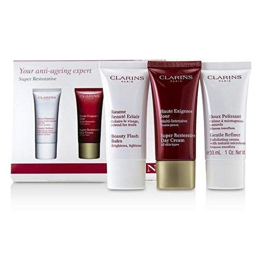 過度の重くする損傷クラランス Super Restorative 50+ Anti-Ageing Skincare Set: Gentle Refiner 30ml+Super Restorative Day Cream 30ml+Beauty Flash Balm 30ml 3pcs並行輸入品