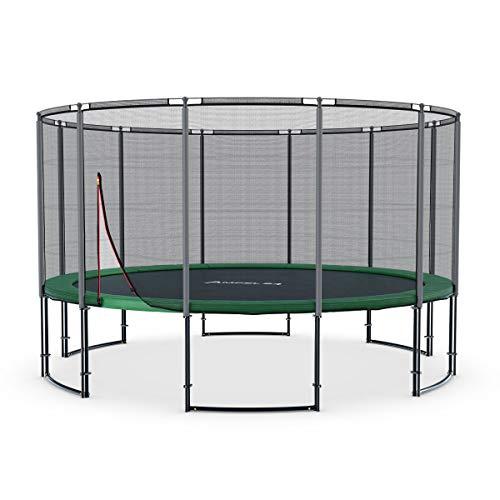 Ampel 24 - Trampoline de Jardin Deluxe Ø 4,30m Complet avec Filet de sécurité, Toile de Saut/résistant jusqu'à 160 kg / 12 piquets