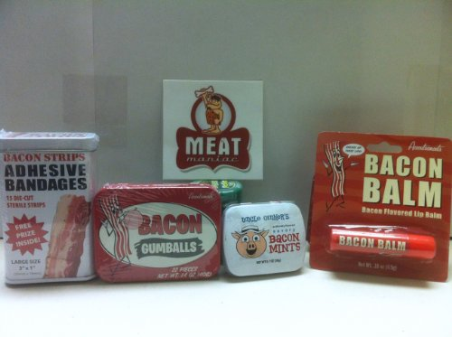 MEAT MANIAC MEGA Bacon Lovers Sampler Gift Pack with Sticker Bacon Bandaids Bacon Lip Balm Bacon Mints amp Bacon Gumballs