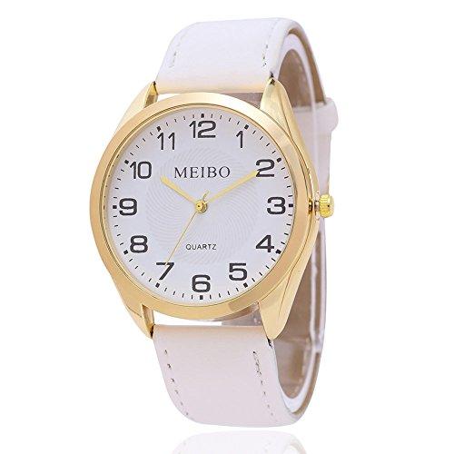 Dxlta Mode MEIBO Damen Armbanduhr Frauen Casual Sport Quarzuhr PU Lederband Runden Zifferblatt Uhr