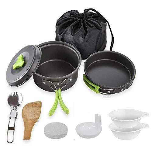 HUSAN Kit de Cocina de Camping Mochila y Senderismo al Aire Libre Equipo de cocción Ligero, Compacto, Duradero, Cuencos Plegables Libres, Bolsa de Nailon