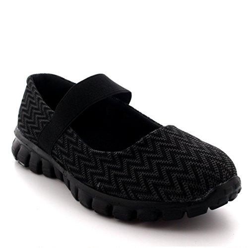 Mujer Corriendo Caminando Bajo Top Deportes Trabajo Zapatos Mary Jane Entrenadores - Negro - UK5/EU38 - BS0057