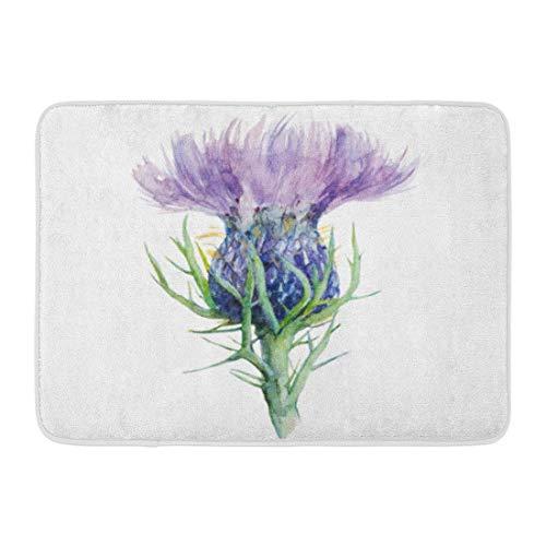 LIS HOME Badematte Schottland lila Schottische Mariendistel Blume Aquarell weiße Leber Tinte Badezimmer Dekor Teppich