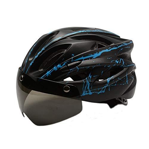 CHENGGUOFENG Gafas Casco de Ciclista Hombres Mujeres Ultraligero Riding Mountain Bicicleta de Carretera Moldeado integralmente Cascos de Ciclismo Ajustables (Color : 02 Negro, Size : Gratis)