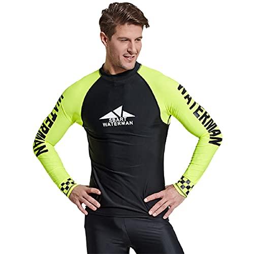 FR&RF Hombres Buceo Snorkeling Camisetas Neoprenos Buceo Trajes Tops Manga Larga Surf Rash Guards Masculino Trajes De Baño Negro, M