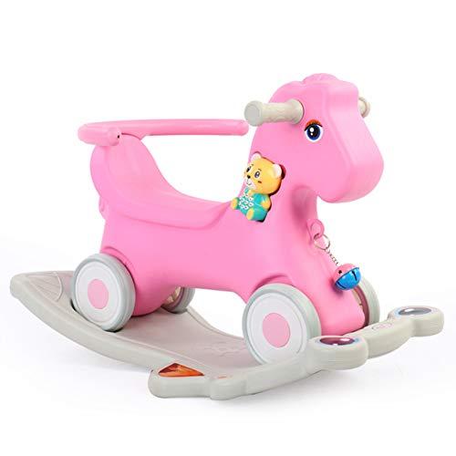 RSTJ-Sjap Caballo de Madera para niños Toy Baby Rocking Horse Plastic Large Dual-Uso 1-2-6 años de Edad Rocking Horse con Música Carrito,Rosado