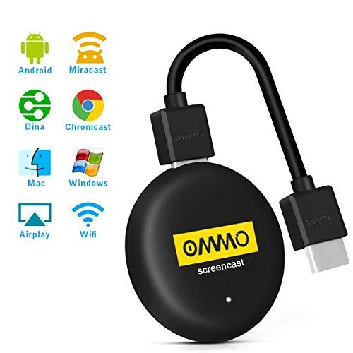 OMMO WiFi HDMI Mirroring Dongle de Pantalla , 5G/2.4G 4K/30Hz 1080p Soporte Miracast Airplay DLNA para teléfono Inteligente Android iPhone iPad Proyecto para TV / Moniteur / Projecteur (Negro)