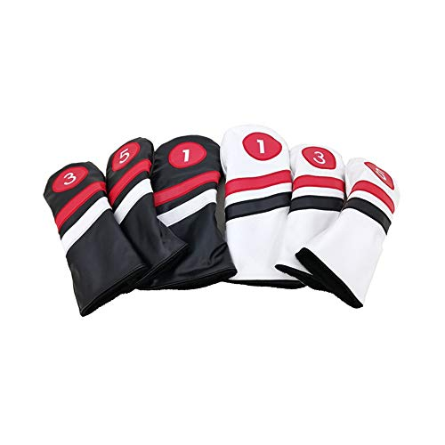 DHTOMC Golf Clubs Iron Head Covers PU Leather Material Golf Putter Headcover Set 1/3/5 Standard Size Golf Club Head Cover Cap Fit For Most Golf Irons Light Durable (Color : Black suit, Size : Free)