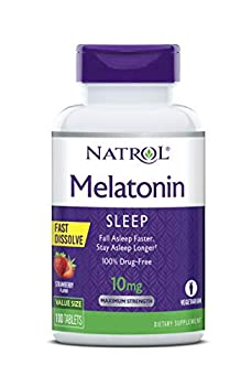 Natrol Melatonin Fast Dissolve Tablets Helps You Fall Asleep Faster Stay Asleep Longer Easy to Take Dissolve in Mouth Strengthen Immune System Maximum Strength Strawberry Flavor 10mg 100Count