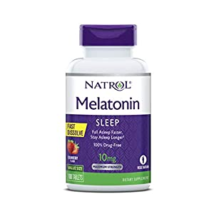 Natrol Melatonin Fast Dissolve Tablets, Helps You Fall Asleep Faster, Stay Asleep Longer, Easy to Take, Dissolve in Mouth, Strengthen Immune System, Maximum Strength, Strawberry Flavor, 10mg, 100Count