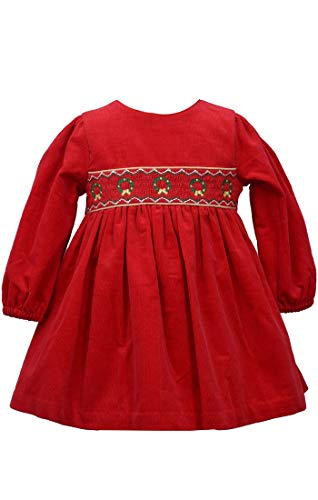 Bonnie Jean Baby Girl's Holiday Christmas Dress - Red Smocked Corduroy for Baby and Toddler (2T)
