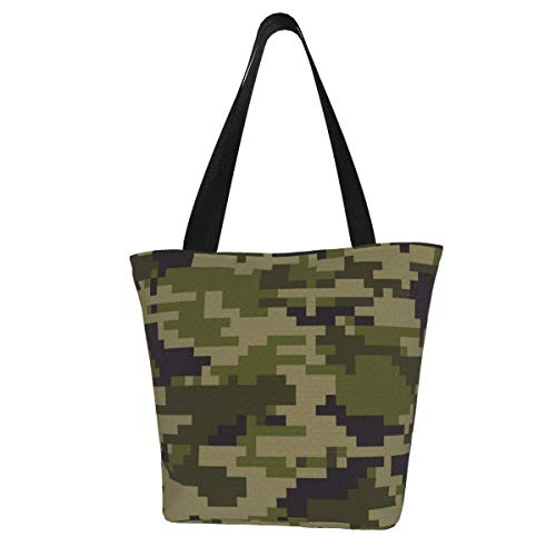 Digital Pixel Camouflage Multifunctional Outdoor Travel Beach Tote Bag Tote Bags for Beach Travel for Women with Zipper Top and Insulated Picnic Cooler