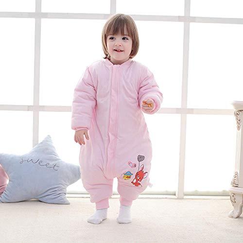 QFYD FDEYL Saco de Dormir para bebé de Invierno,Edredón de algodón para niños-Un Mapache Rosa_80 Yardas 0-1 años, Bolsa de Dormir de Bebé de Mangas Largas