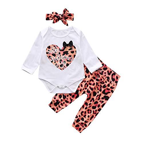 Haokaini Neugeborenes Baby Säugling Valentinstag Outfits Strampler + Hosen Rock Stirnband Leopard Kleidung für Kleinkind