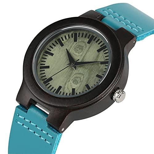 RWJFH Reloj de Madera Reloj de Madera de ébano para Mujer Relojes de Cuarzo paraMujer Reloj de Pulsera de CueroAzul únicoReloj de Madera Natural Informal para Mujer