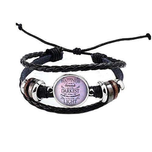 Pulsera de cabujón con cita y brazalete de felicidad, joyería inspiradora, PU101